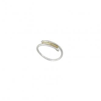 Sterling Silber und Gold Ring 925 935 Gelbgold Gehämmert Handgefertigt Geschmiedet Handgearbeitet