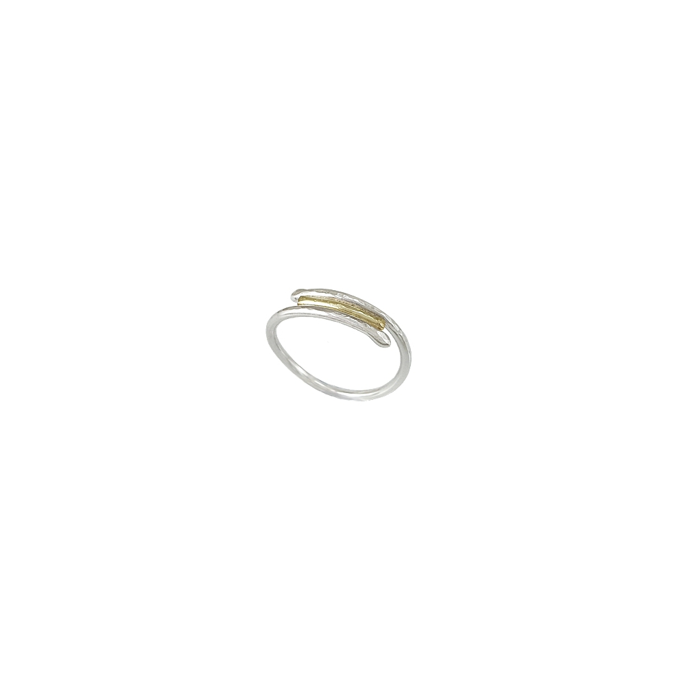 Silver and Gold Ring Sterling 935 Hammered Bicolour Handmade