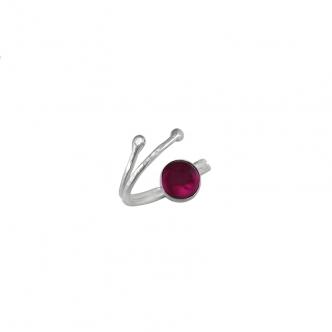 Sterling Silber Ring Offen Doppel Ring Cabochon Handgemacht Geschmiedet Handgefertigt