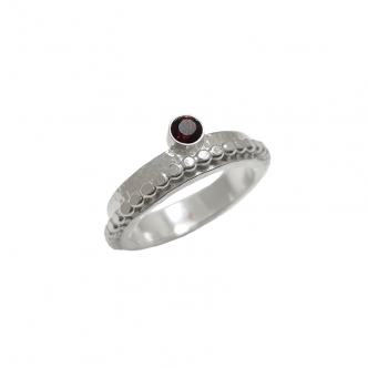 Sterling Argentium Silver Ring Gemstone Garnet Beaded Wire Hammered Handmade