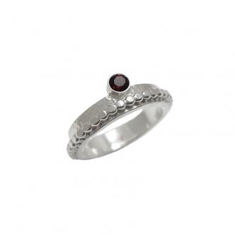 Silber Ring Argentium Sterling 925 935 Edelstein Granat Citrin Handgefertigt Handgearbeitet Geschmiedet