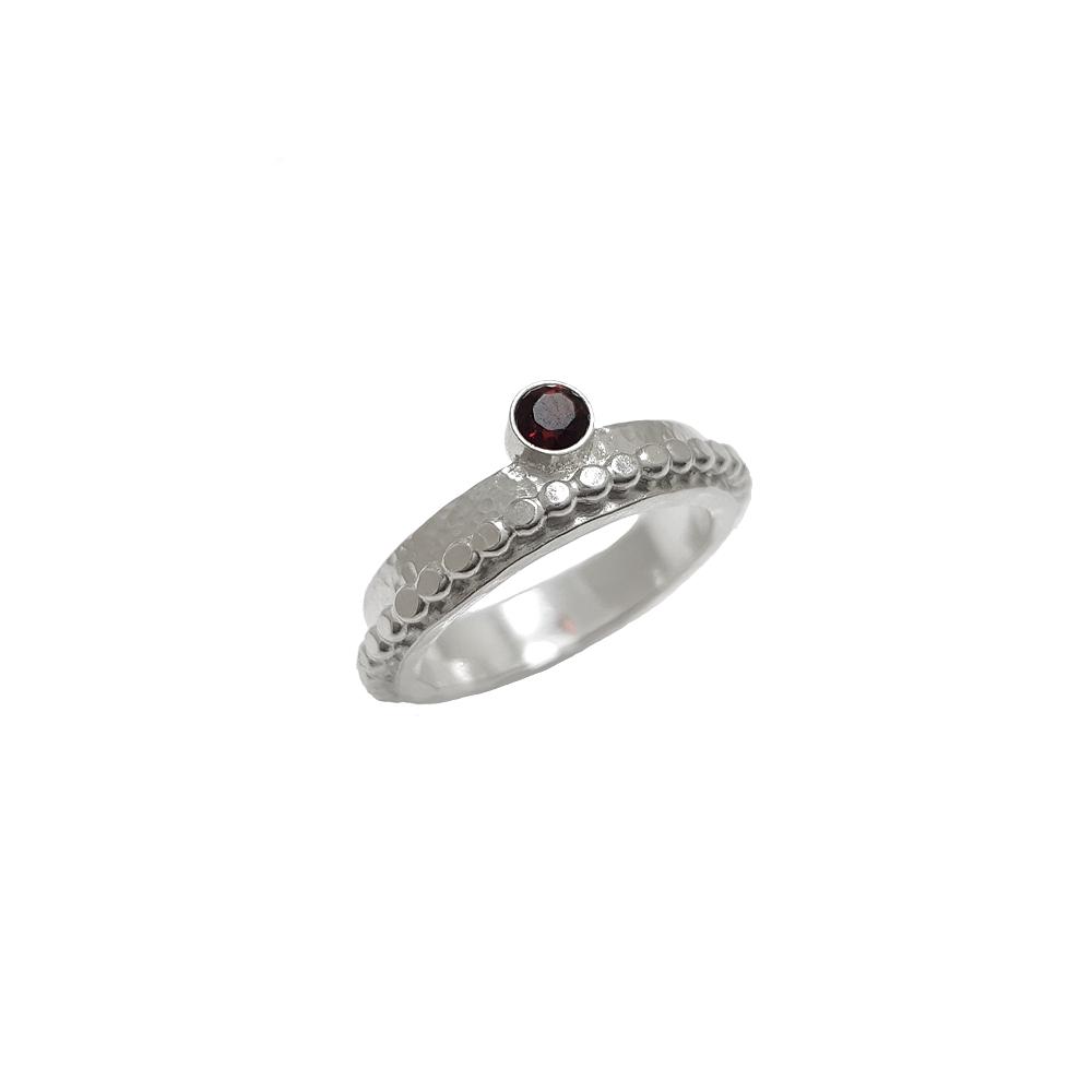 Sterling Argentium Silver Ring Gemstone Garnet Beaded Wire Hammered Handmade