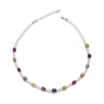 Handmade Sapphire Gemstone Necklace Colours Sterling Silver