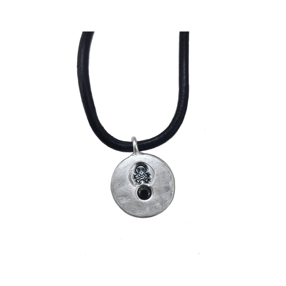 Pendant Necklace Men Fine Silver 999 925 Skull Black CZ Leather Handmade