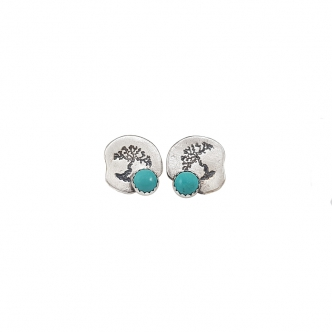 Silver Earrings Sterling Fine Silver 925 999 Cabochon Turquoise Blue Green Handmade Studs Stamped Tree