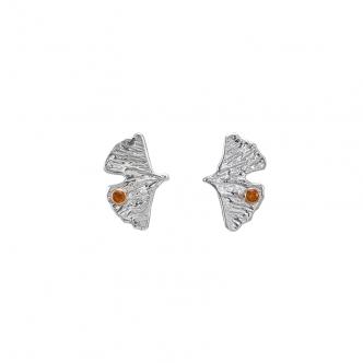 Ginkgo Ginkgoblätter Sterling Silber Edelsteine Citrin Gelb Gold Ohrringe Ohrstecker Handgefertigt Handgearbeitet Goldschmied