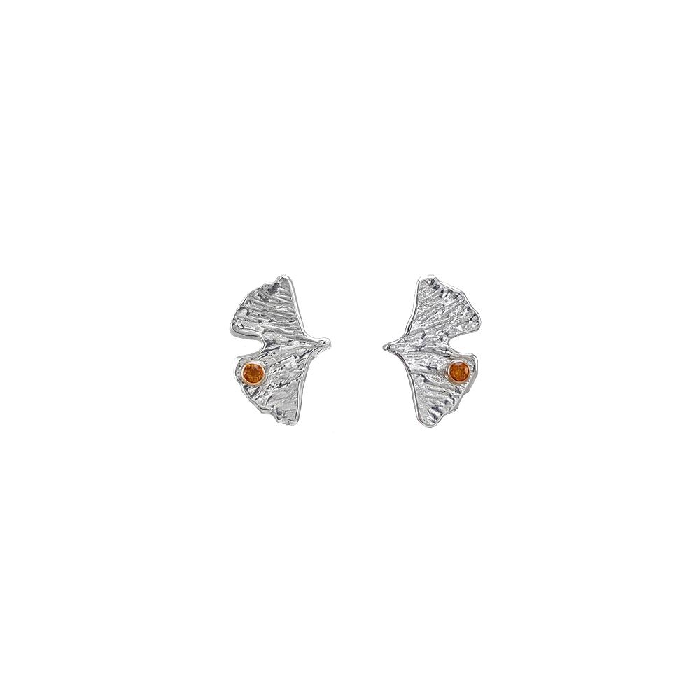 Ginkgo Flower Sterling Silver Earrings Gemstone Citrine Gold Handmade Yellow