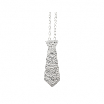 Silver Tie Necklace Sterling Fine Texture Metal Clay Handmade Charm 999 925