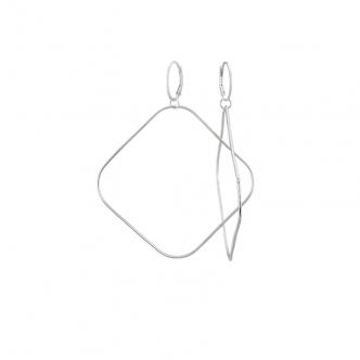 Extra Große Rechteckige Hoop Ohrringe Ohrhänger Sterling Silber 925 Argentium® Silber 935 Handgefertigt Handgemacht Gehämmert