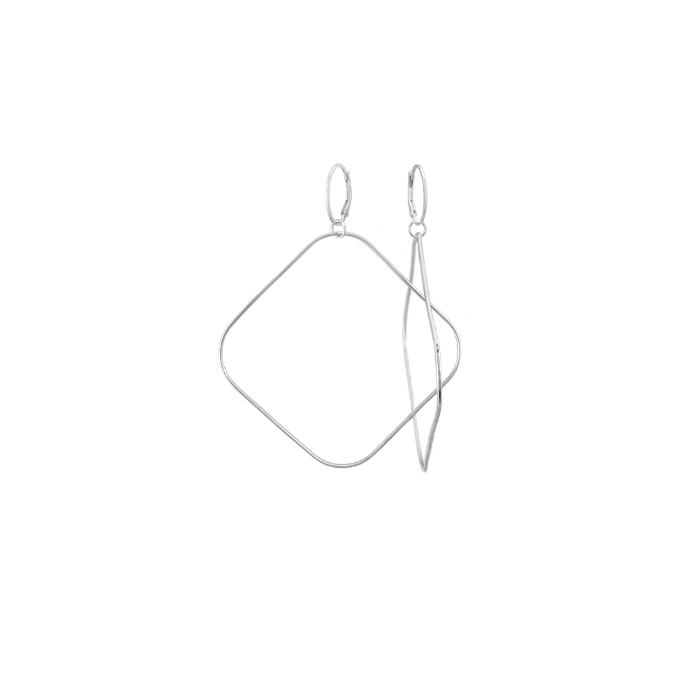 Extra Large Square Hoop Earrings Sterling Silver Argentium® Silver 935 925 Handmade Hammered