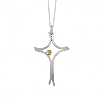 Big Argentium® Silver Cross Sterling Yellow Gold Statement Necklace Handmade Frosted