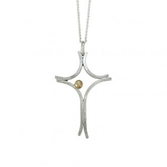 Großes Argentium® Silber Kreuz Anhänger Kette Gold Gelbgold Handgefertigt Handgearbeitet Sterling