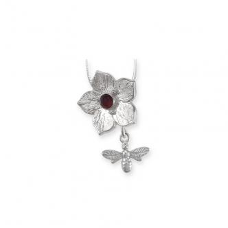 Blume Biene Anhänger Kette Edelstein Granat Rot Metal Clay Sterling Silber 925 950 Handmade