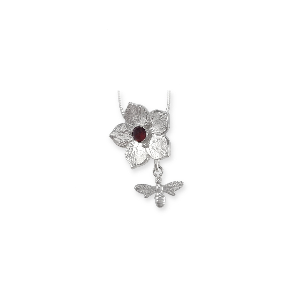 Flower Bee Pendant Necklace Cabochon Red Garnet Gemstone Dangly Metal Clay Sterling Silber 925 950 Handmade