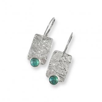 Feinsilber Sterling Silber 999 925 Metal Clay Ohrringe Ohrhänger Turkis Edelsteine Cabochon Handgefertigt Handgearbeitet
