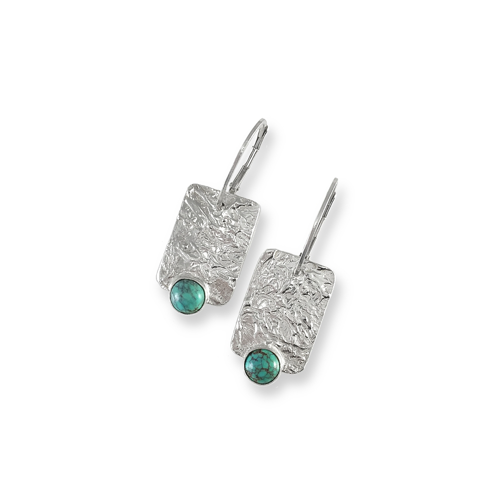 Silver Fine Silver Gemstone Chinese Turquoise Gemstone Cabochon 999 925 Sterling Handmade Earrings