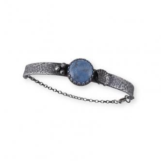 Armband Argentium Sterling Silber 925 935 Oxidiert Cabochon Denim Blau Handgefertigt Handgearbeitet
