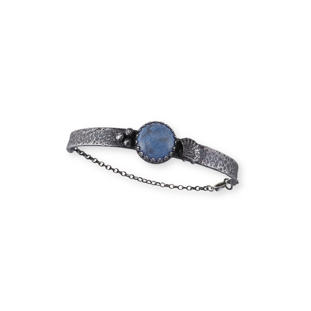 Bracelet Argentium Sterling Silver 925 935 Oxidised Cabochon Denim Gemstone Blue Handmade