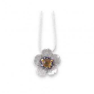 925 Sterling Silber Kette Blume Citrin Edelstein Cabochon Gold Anhänger Handgeschmiedet Goldschmied Handgefertigt