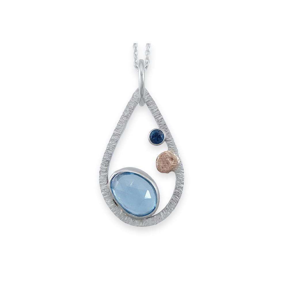 Topaz Gemstone Pendant Sterling Silver 925 Slice Blue Gemstone Drop Handmade