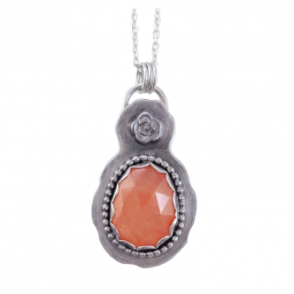 Necklace Pendant Sterling Silver 925 Gemstone Cabochon Orange Chalcedony Flower Handmade