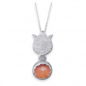 Solid Fine Silver Sterling 999 925 Flower Pendant Tulip Necklace Metal Clay Cabochon Chalcedony Orange Statement Handmade Long