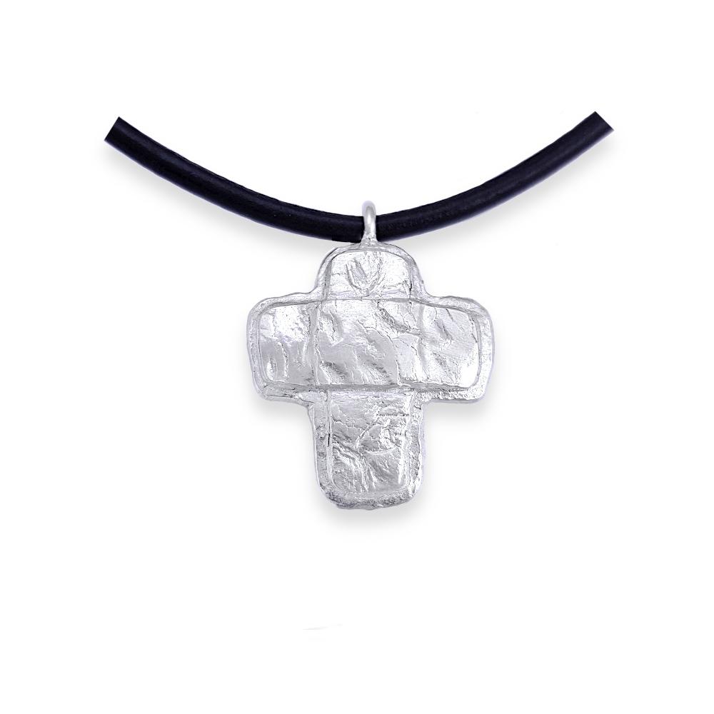 Sterling Silber Metal Clay 925 Kreuz Massiv Freeform Handgefertigt Goldschmied Handarbeit