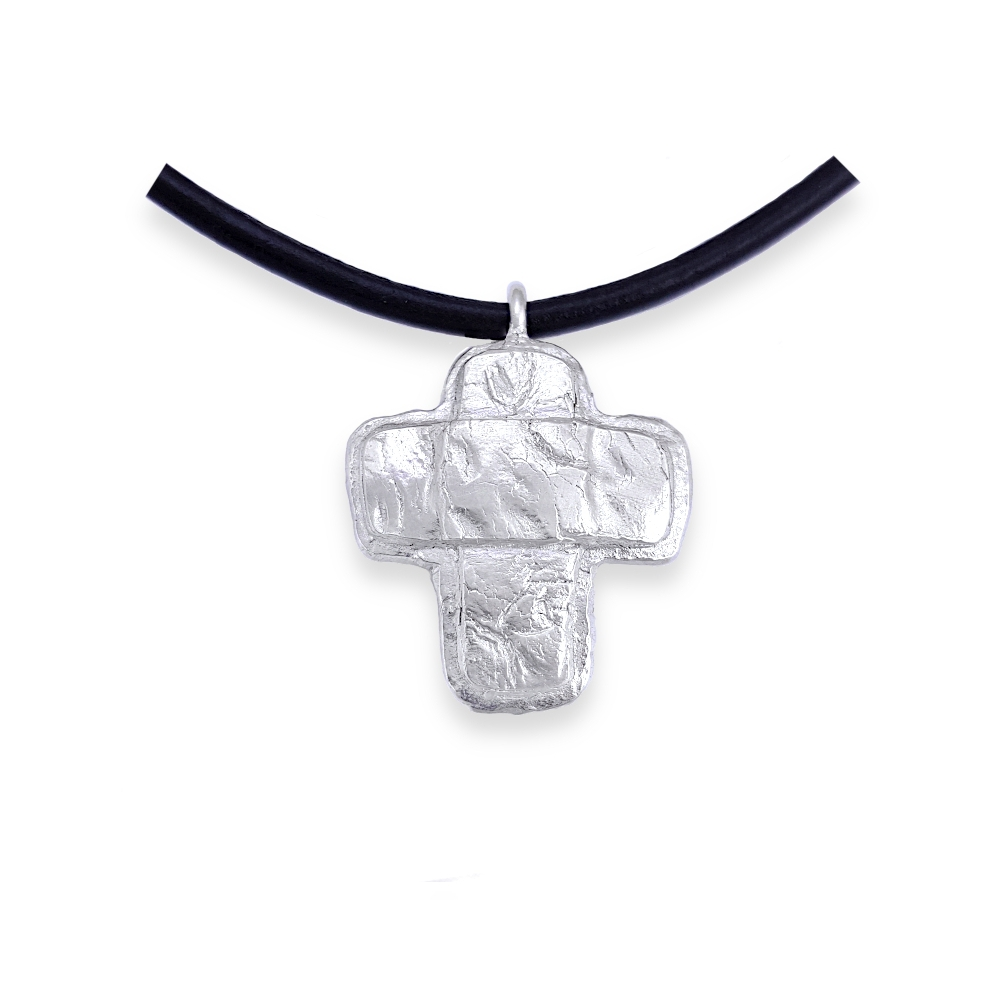 Sterling Silver Freeform Heavy Cross Solid Necklace Handmade 925