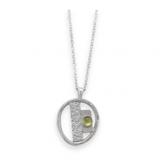 Sterling Silver 925 Pendant Gemstone Cabochon Green Peridot Handmade with Chain