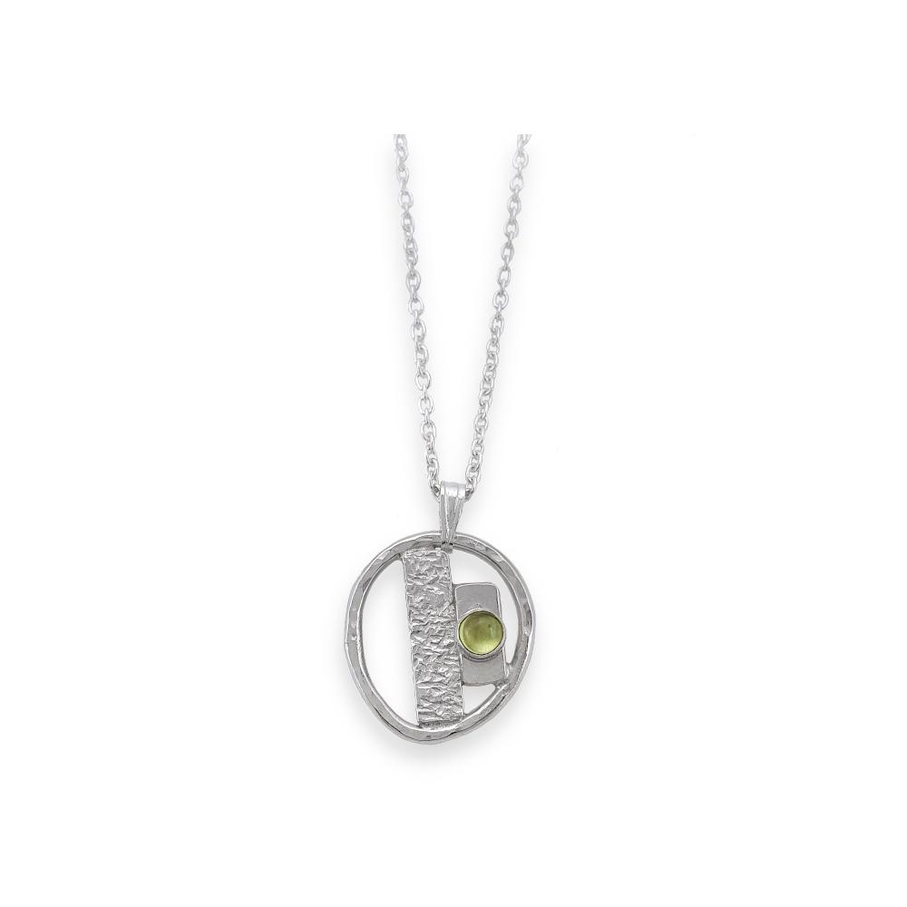 Sterling Silber Anhänger 925 Edelstein Peridot Cabochon Grün Handgearbeitet Handgefertigt