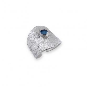 Sterling Silber 925 Metal Clay Offener Ring Edelstein Cabochon Topas London Blau Handgefertigt Goldschmied Handgearbeitet