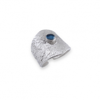 Sterling Silver Open Ring 925 Metal Clay Texture Handmade Gemstone Cabochon Topaz London Blue