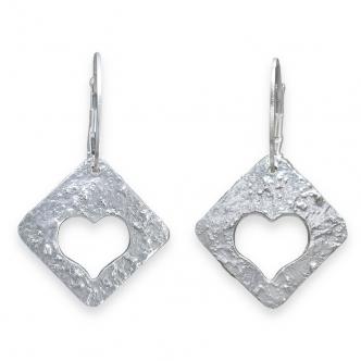 Feinsilber Sterling 999 925 950 Herz Herzchen Ohrringe Handgeschmiedet Handgefertigt Handgearbeitet