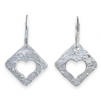 Fine Silver Sterling Earrings 999 950 925 Heart Handmade