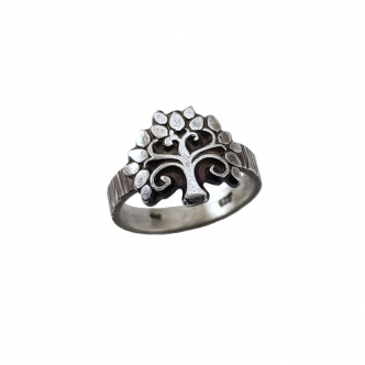 Ring Sterling Silber 925 Baum Oxidiert Handgefertigt Handgearbeitet