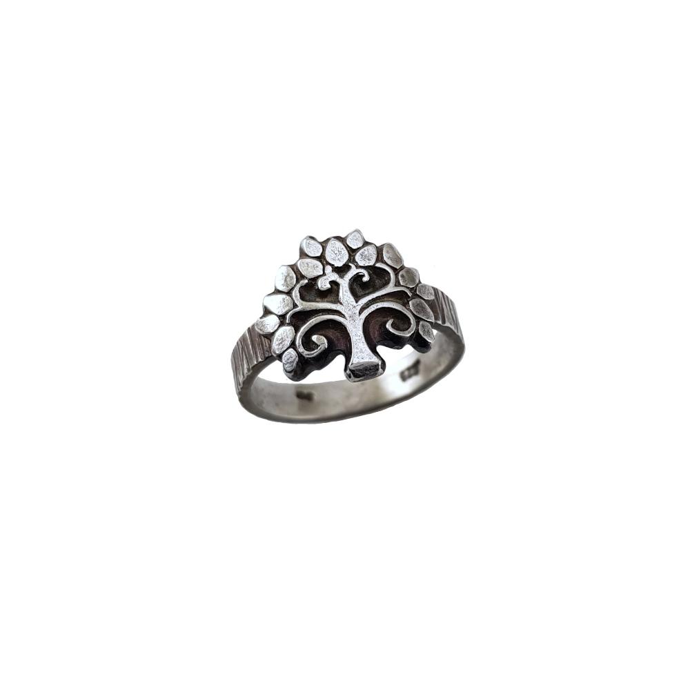 Ring Sterling Silver 925 Tree Oxidised Handmade