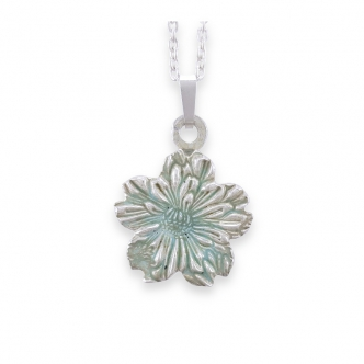Fine Silver 999 Flower Nature Enamel Green Pendant Necklace Handmade
