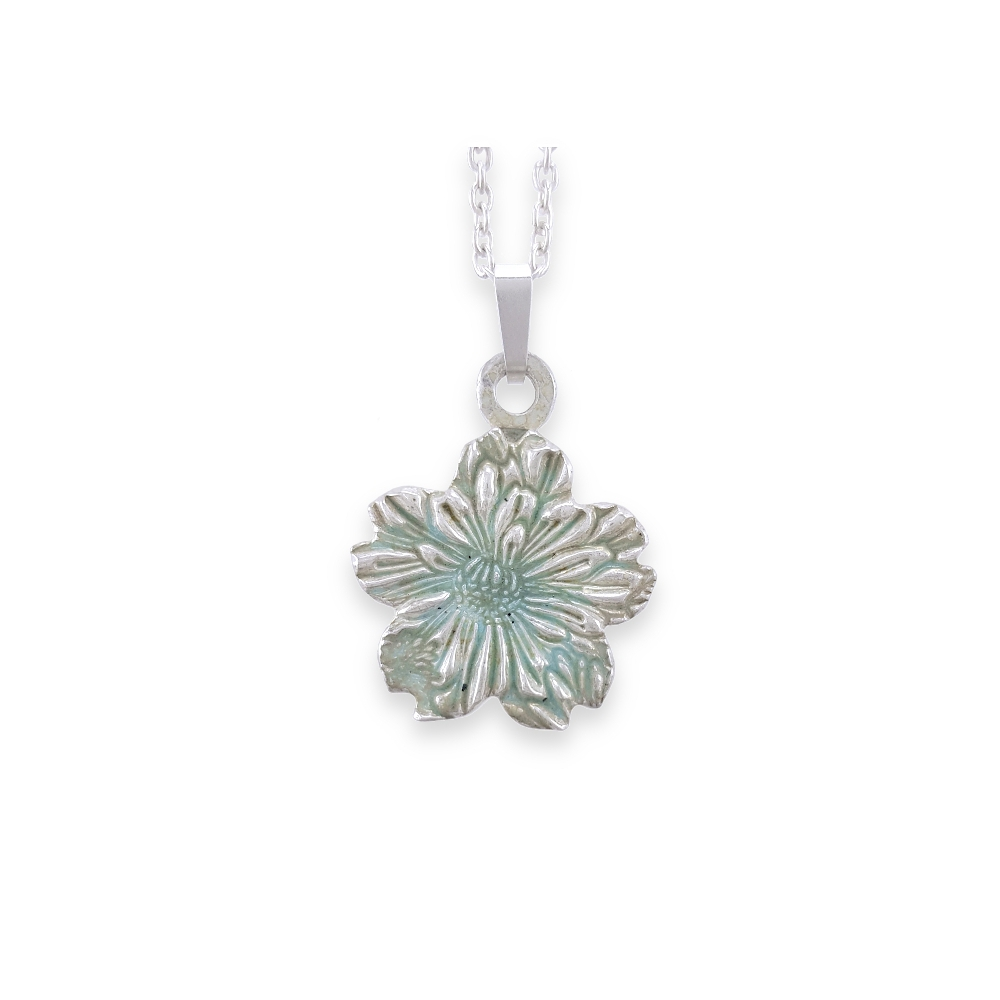 Fine Silver 999 Flower Nature Enamel Green Pendant Necklace Handmade