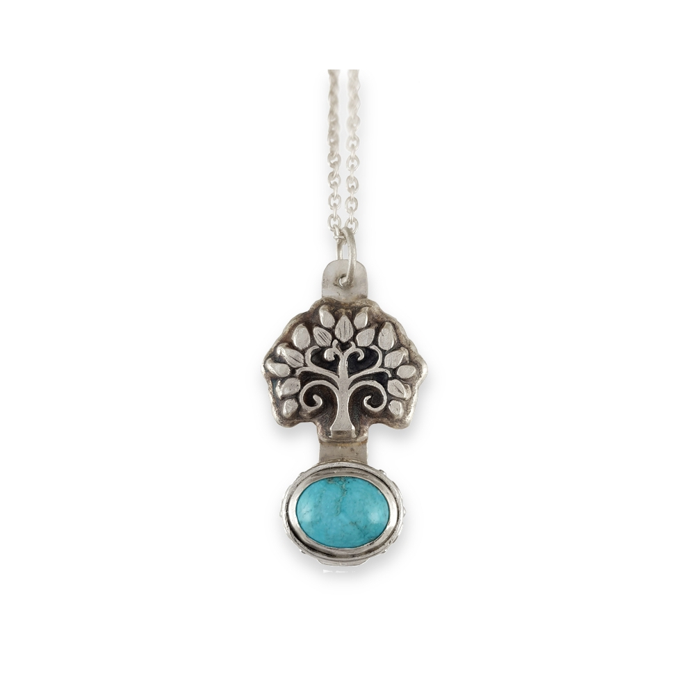 Turquoise Gemstone Cabochon Tree Nature Sterling Silver 925 Pendant Necklace Handmade