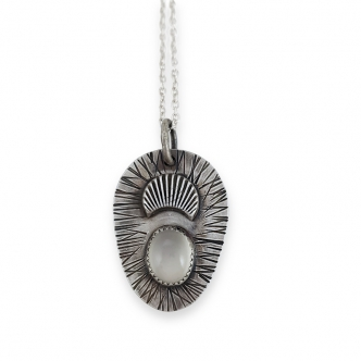 Moonstone White Moon Sterling Silver Pendant Necklace Oxidised Handmade Cabochon Gemstone