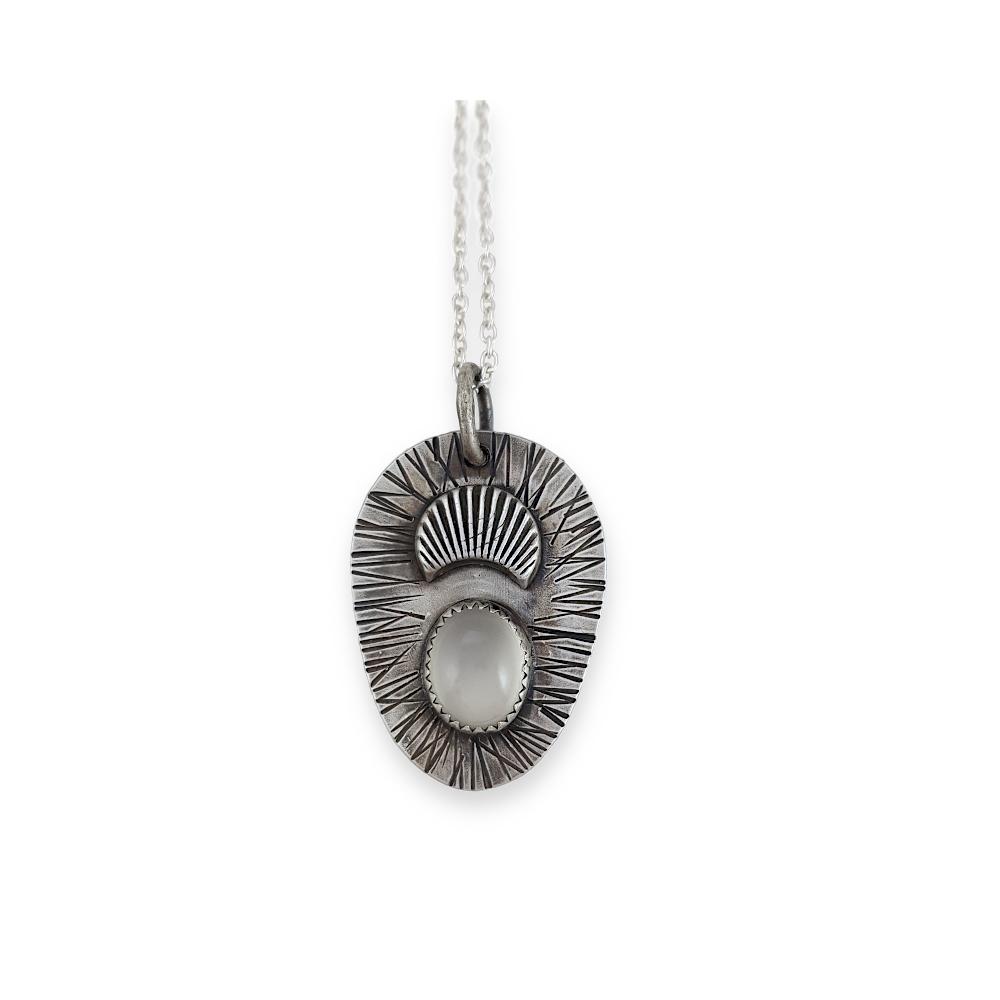 Mondstein Edelstein Cabochon Weiß Mond Sterling Silber 925 Oxidiert Anhänger Kette Goldschmied Handgefertigt