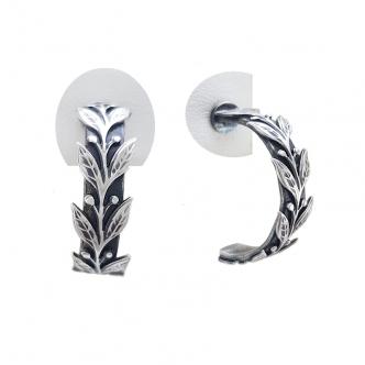 Creolen Hoop Ohrringe Blätter Natur Oxidiert Schwarz Handgefertigt Handgearbeitet