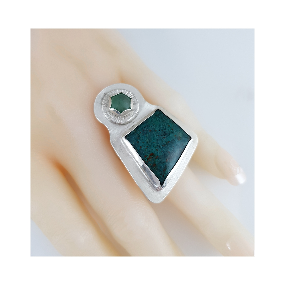 Big Chrysocolla Green and Aventurine Sterling Silverr 925 Statement Ring Handmade Gemstone