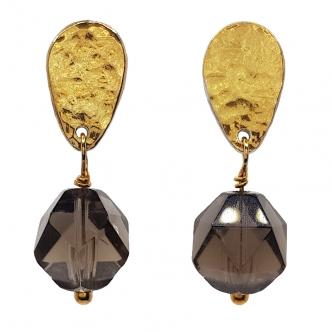 Ohrringe Rauchquarz Gold Sterling Silber Keum Boo Handgefertigt Vergoldet Tropfen Edelsteine