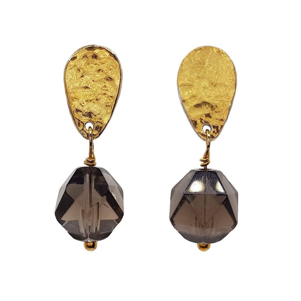 Smokey Quartz Earrings Silver and Gold Sterling 925 Gemstones Studs Keum Boo Handmade