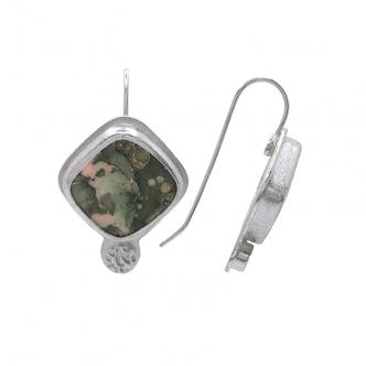 Grün Rhyolith Edelsteine Cabochon Eckig Sterling Silber 925 Handgefertigt Ohrringe