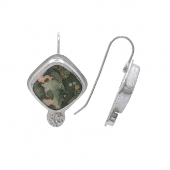 Green Rhyolite Gemstone Square Cabochon Earrings Sterling Silver 925 Handmade