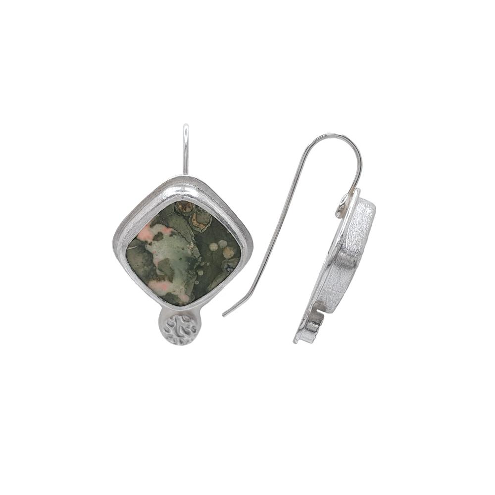 Green Rhyolite Gemstone Square Cabochon Earrings Sterling Silver 925 Handmade