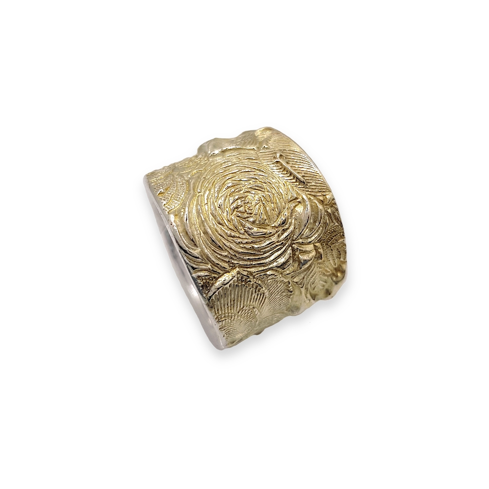 Solid Heavy Wide Sterling Silver Ring Flowers Texture Gold 925 950 Yellow Gold Handmade