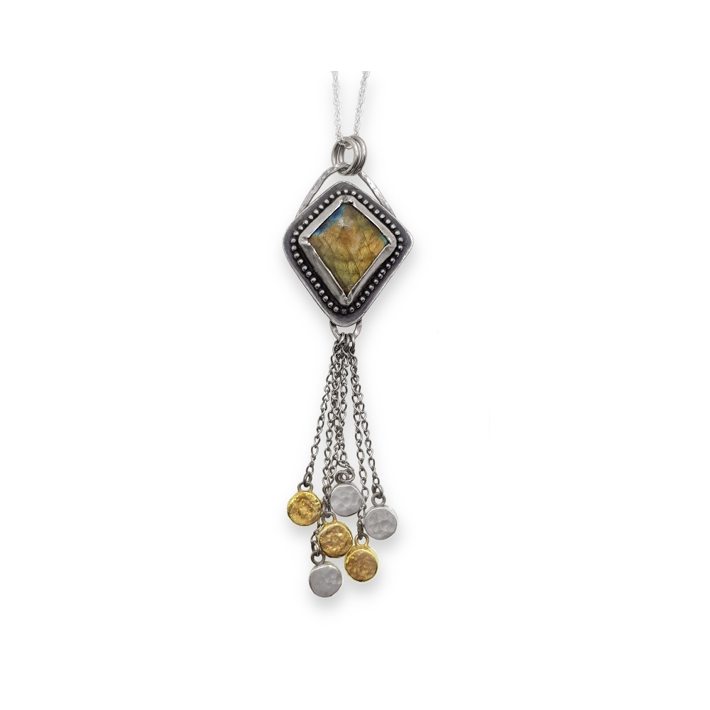 Labradorite Gemstone Cabochon Gold Flash Gold Sterling Silver 925 Fine Gold Handmade Pendant with Chain